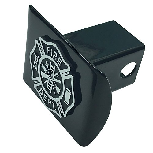 AMG Auto Emblems Support Firefighters Metal Emblem (Chrome & Black) on Black Metal Hitch Cover Fire