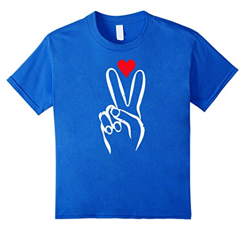 - Kids Peace and Love T-Shirt Novelty Message Universal 12 Royal Blue