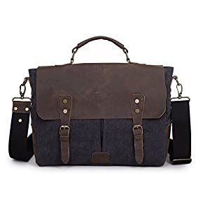 Amazon.com: Crazy Ants Vintage Canvas Leather Mens Messenger Bags ...