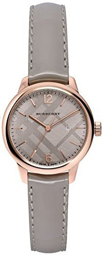Burberry Women's BU10119 Check Stamped Patent Leather Strap Watch, 32mm - Storm Grey/ Rose Gold
