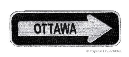 OTTAWA ONE-WAY SIGN EMBROIDERED IRON-ON PATCH applique ONTARIO CANADA - Store Hat Ottawa