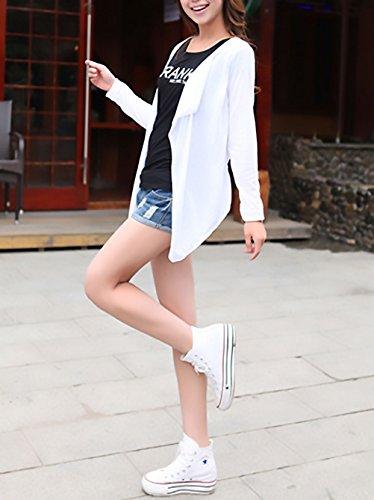 Chic Mare Lunga Fashion Cover Bianco Irregolare Moda Bikini Copricostume Puro Colore Sciolto Cardigan Manica Sottile Donna Pareo Laisla Up Elegante Casual Estivi Primaverili 0qFpnv0