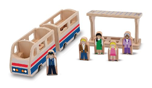 Melissa & Doug Whittle World Wooden Train Station Platform Play Set (9 pcs)