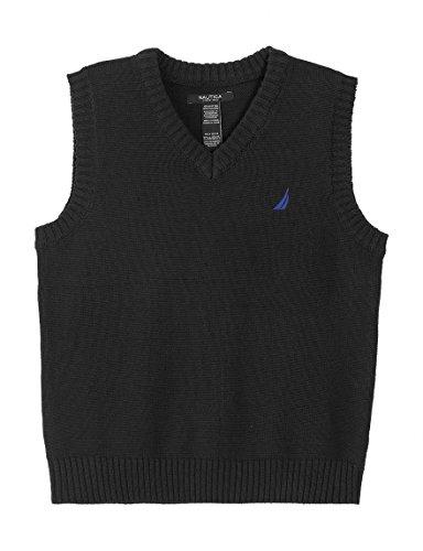 Nautica Boy's Solid V-Neck Sweater Vest, Sport Navy (L(14/16)) by Nautica (Image #1)