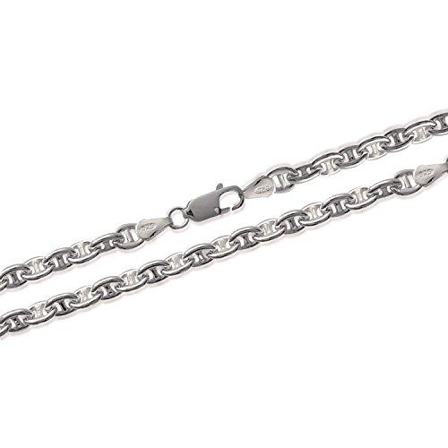 Bracelet en Argent 925/000 Maille Marine - Largeur 4 mm - Longueur 18 cm - Bijoux Homme Femme Unisexe Mixte