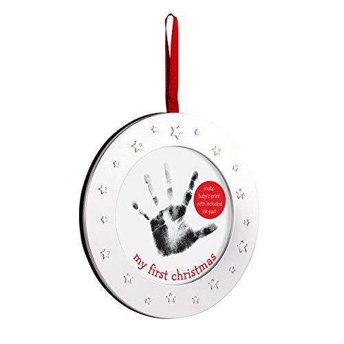 (Lil' Peach Baby's Handprint Holiday Keepsake Photo Ornament Set, Circle, Silver)