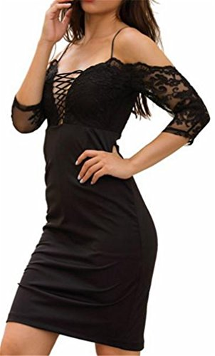 Cromoncent Lace Up Dress Womens Shoulder Classic Lace Cold Bodycon Black Strap r7RrT1Awcq