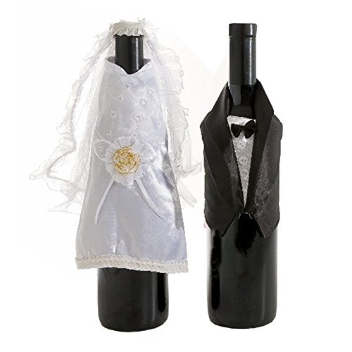 Fun Wine Bottle Covers by Wine Wear [Bride and Groom] – Wine bottle dress-up for Weddings, Bridal Shower, Rehearsal Dinner, Bachelorette Party, Favors, Centerpiece, Engagement Party, Gifts and (Dinner Party Favors)