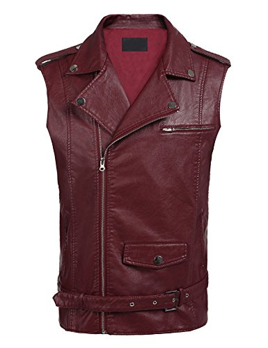 COOFANDY Men's PU Leather Motorcycle Vest Belt Design Slim Fit Zipper Bike Racing Waistcoat with Gun Pocket, Wine Red, Medium (Chest 43.3)