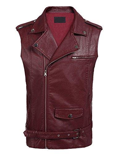 - COOFANDY Mens PU Leather Motorcycle Vest Belt Design Slim Fit Zipper Bike Racing Waistcoat with Gun Pocket,Wine Red,Small (Chest 41.3)