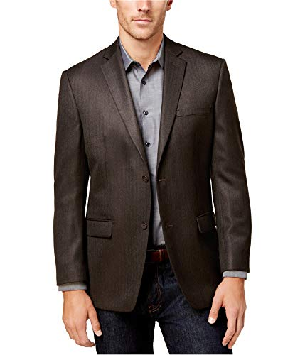 Marc New York Mens Herringbone Two Button Blazer Jacket, Brown, 44 Long ()