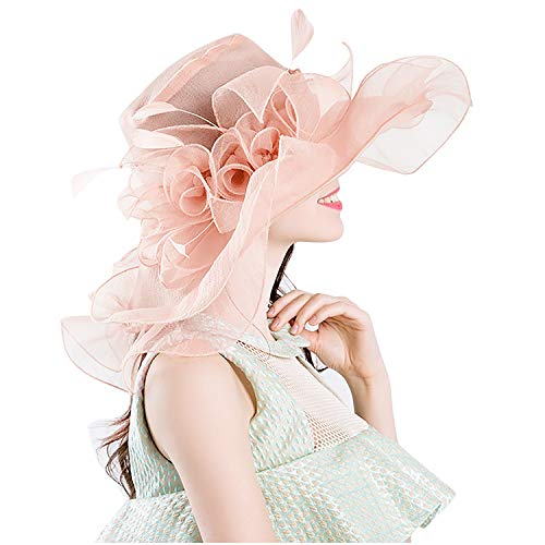 Bellady Womens Kentucky Derby Hats Cocktail Tea Party Bridal Dress Church Hat,Light Pink Derby Hats -