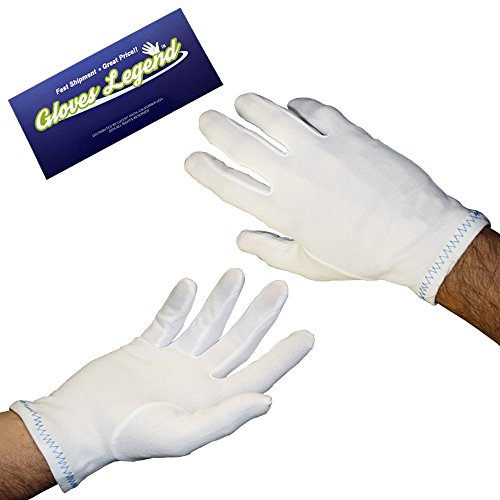 Size Large - 12 pairs (24 Gloves) Gloves Legend Nylon Stretch White Coin Jewelry Silver Fashion Inspector Gloves