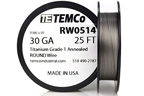 TEMCo Titanium Wire 30 Gauge 25 FT Surgical Grade 1 Resistance AWG ga (Best Titanium Wire For Vaping)