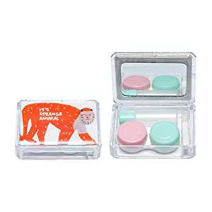 Fashion Cute Animal Contact Lens Case for Boys & Girls Eye Care Monkey Style Container Travel Kit with Mirror Holder (Monkey)
