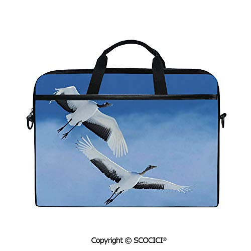 Customized Printed Laptop Bag Notebook Handbag Two Red Crowned Crane with Open Wings Flying in Clear Sky Japanese Animal Duo 15
