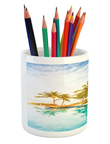 Ambesonne Landscape Pencil Pen Holder, Aerial View of A Pool in A Health Resort Spa Hotel with Exotic Sports Modern Photo, Printed Ceramic Pencil Pen Holder for Desk Office Accessory, Multi by Ambesonne (Image #3)