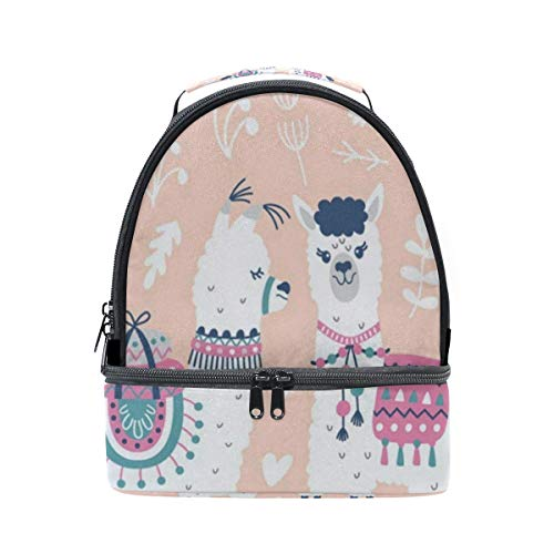 Lunch Bag Alpaca Cactus Leaves Double Layer Backpack Lunch Tote Insulated Reusable Adjustable Shoulder Strap