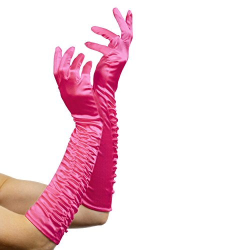 Elegant Womens Flapper Adult Costumes (Fever Women's Long Gloves, Pink, One Size, Temptress Gloves, 29763)