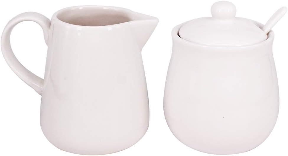 BPFY 11oz White Ceramic Cream and Sugar Set, Coffee Serving Sets, Sugar Bowl with Lid and Spoon, Cream Pitcher, Cream Jug Sugar Jar