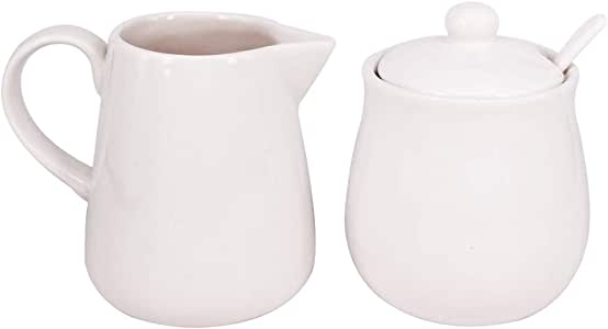 8 oz Cream Pitcher 2 Pack /& Sugar Bowl with Lid Spoon Serving for Coffee Tea Porcelain Sugar and Creamer Set