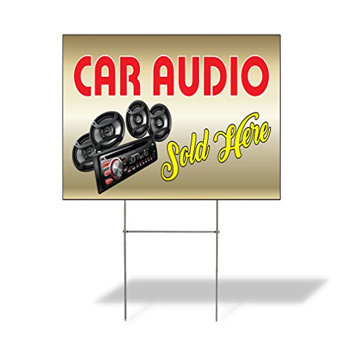 Car Audio Sold Here Outdoor Lawn Decoration Corrugated Plastic Yard Sign - 18inx24in, Free Stakes (Audio Destination)