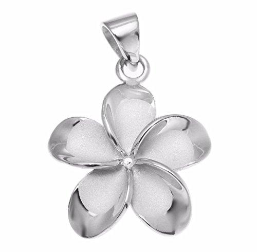 (Arthur's Jewelry 925 sterling silver rhodium plated Hawaiian plumeria flower no cz stone pendant 22mm )