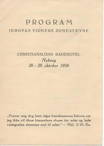 Program, Circuit Assembly Of Jehovah's Witnesses, Christianslund Badehotel, Nyborg Denmark, 26-28 October 1956 ()