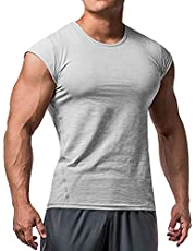 Heren Atletisch T-shirts Tees Korte mouw Spier Besnoeiing voor Bodybuilding Training Opleiding Fitness Tops Ronde hals Katoen