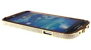 Diamond Crystal Bling aluminio Metal Bumper Duro oro rosa carcasa para Samsung Galaxy S4con flores Hanger
