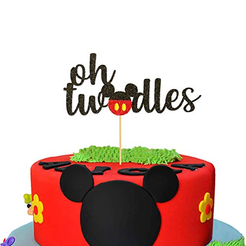 Mickey Mouse Second Birthday Cake Topper,Oh Two Dles Birthday Party Supplies Decorations For Boy]()