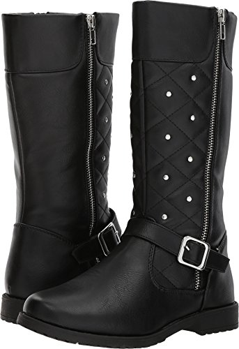 Rachel Shoes Girls' Eastport Fashion Boot, Black Smooth, 4 M US Big Kid