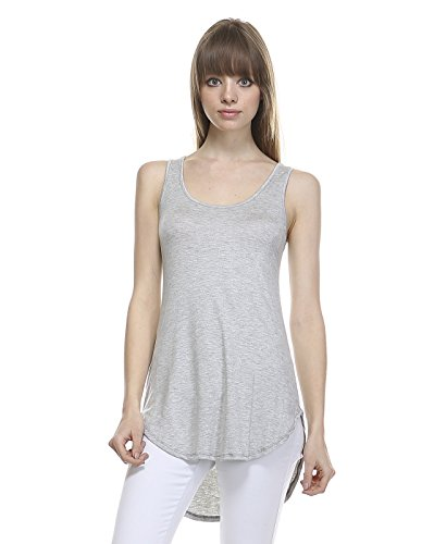 Today Showroom Premium Rayon Long Tank Top (Small, Heather Grey)
