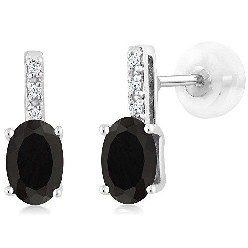 Gem Stone King 14K White Gold Oval Black Onyx Stud Diamond Women's Stud Earrings 0.81 Cttw 6X4mm Oval