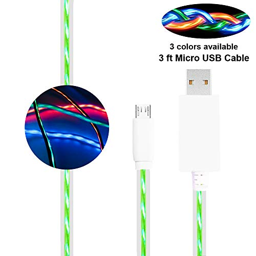 Led Type C Charger, BUSOH USB C Charging Cable, 3 Feet Flowing Led Fast Charging Cord for Samsung S10/S9/S8/Plus Note 10/9/8 Huawei Android Phone and USB C Device (Flowing Green)
