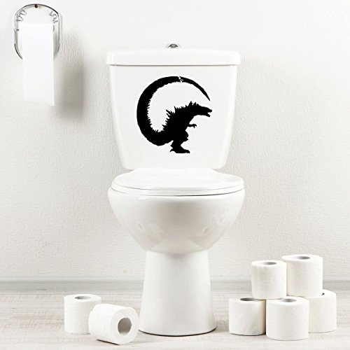 StickAny Bathroom Decal Series Monster Guy Sticker for Toilet Bowl, Bath, Seat - Terrors Monster Black