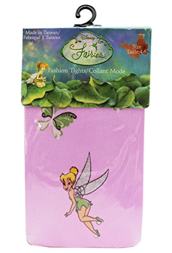Disney's Tinker Bell Butterfly Themed Pink Colored Kids Tights (Size 4-6) -
