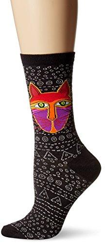 Laurel Burch Women's Single Pack Cat Design Crew Socks, Native Cat, (Laurel Design)