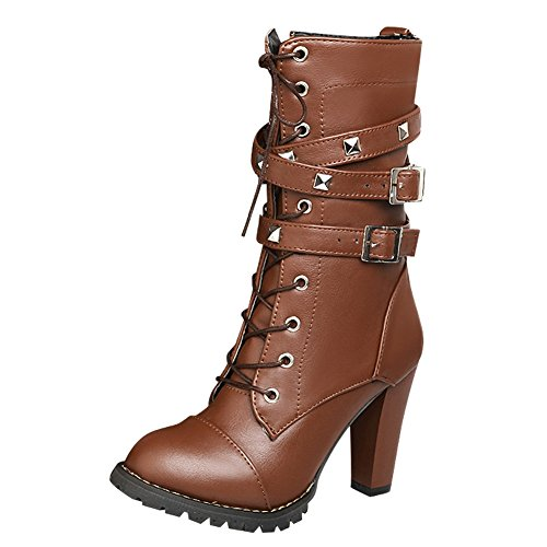Latasa Womens Studded Monk Strap Short Motocycle Boots Brown Aih3zct