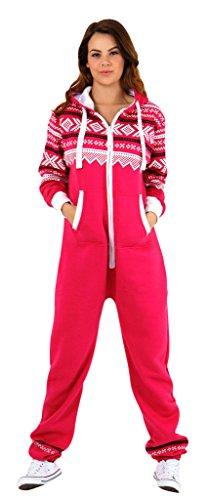 SkylineWears Women's Onesie Fashion Printed Playsuit Ladies Jumpsuit Small Pink