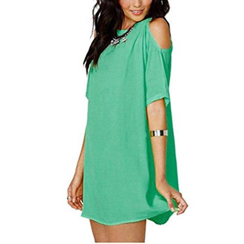 d't robe solide hors paule mini robe Malloom Vert paule lache dcontract Femme 18nxq5BR