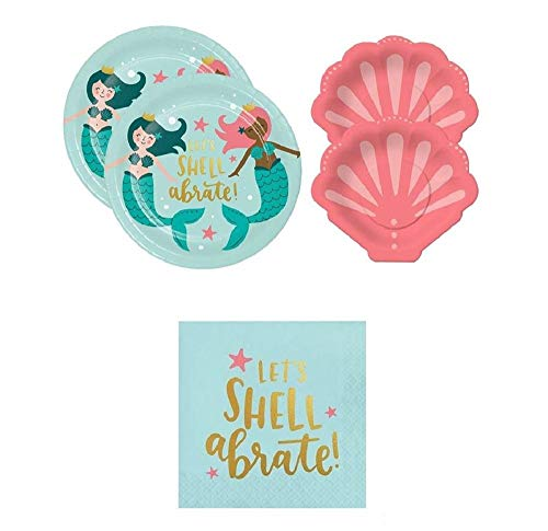 Let's Shell-abrate Mermaid party supplies for 20 guests, large and small plates, napkins -