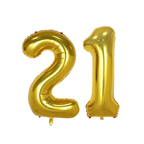 40inch Gold Number 21 Balloon Party Festival Decorations Birthday Anniversary Jumbo foil Helium Balloons Party Supplies use Them as Props for Photos (40inch Gold Number 21) ()
