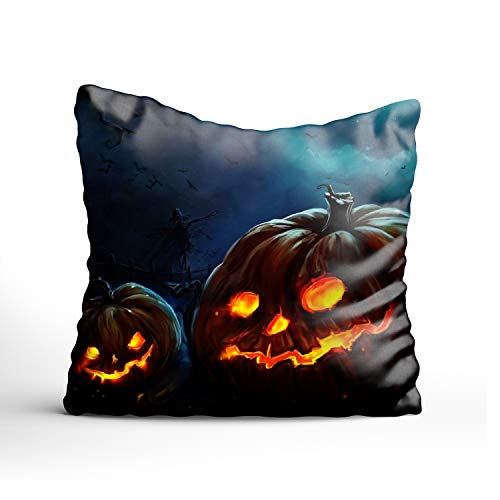 Fornate Halloween Pumpkin Throw Pillow Case 16X16 Inch,Home Decoration Pillowcase Zippered Pillow Covers Cushion Cover Sofa -