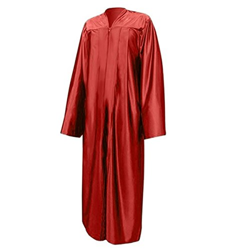 Adult Shiny Red Graduation Gown, 100% Polyester Pleated Gown with a Full Zipper (Red Graduation)