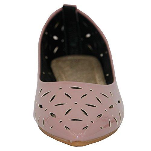 AalarDom Mujer Puntiagudo Sin cordones Material Suave Sólido Plano, Rosa, 37.5