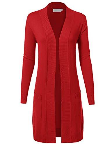 MAYSIX APPAREL Long Sleeve Long Line Knit Sweater Open Front Cardigan W/pocket For Women RED M