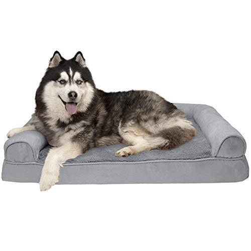 Furhaven Pet Dog Bed Orthopedic Sofa-Style Living Room Couch Pet Bed for Dogs Cats – Available in Multiple Colors Styles
