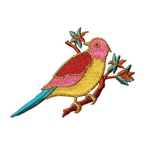 (ID 0499A Bird On Branch Patch Peace Dove Robin Embroidered Iron On Applique)