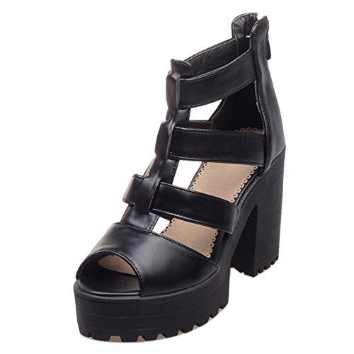 RAZAMAZA Zapatos Mujer Cremallera Tobillo Tacones Sandalias Negro Plataforma Correa r6rqwzH